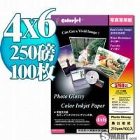 color Jet 防水亮面噴墨相片紙 4X6 250磅 100張